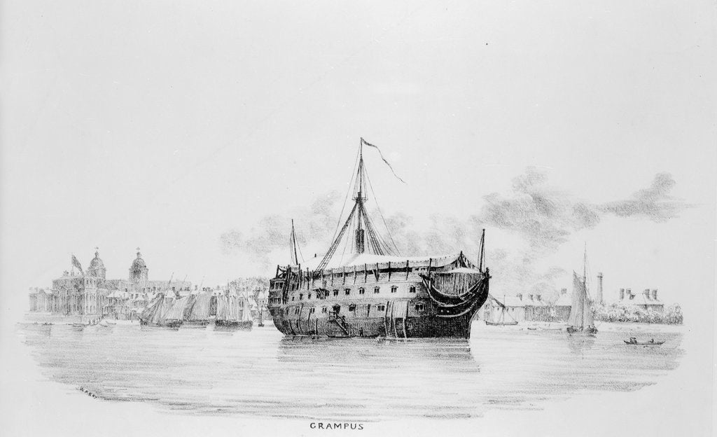 Detail of HMS 'Grampus' as a hospital ship off Greenwich by W. Porden Kay