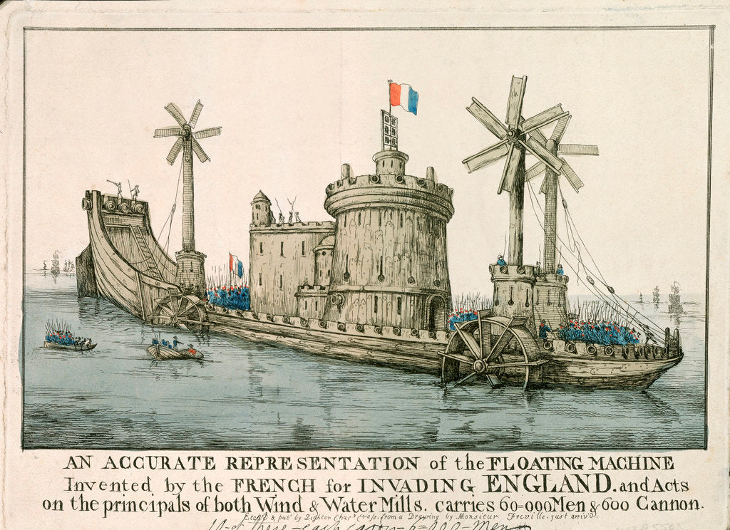 Detail of An Accurate Representation of the Floating Machine Invented by the French for Invading England by Freville