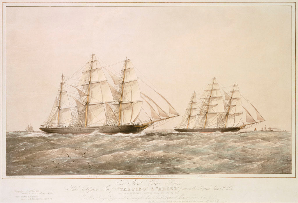 The Great China Race: the Clipper Ships 'Taeping' & 'Ariel' passing the Lizard 6 September 1866 on their homeward voyage from Foo-Chow-Foo by Thomas Goldsworth Dutton