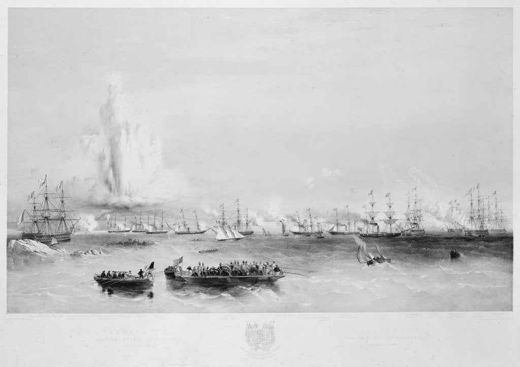 Detail of The English and French fleets in the Baltic: combined attack on the forts at Bomarsund, 15 August 1854 by Oswald Walter Brierly