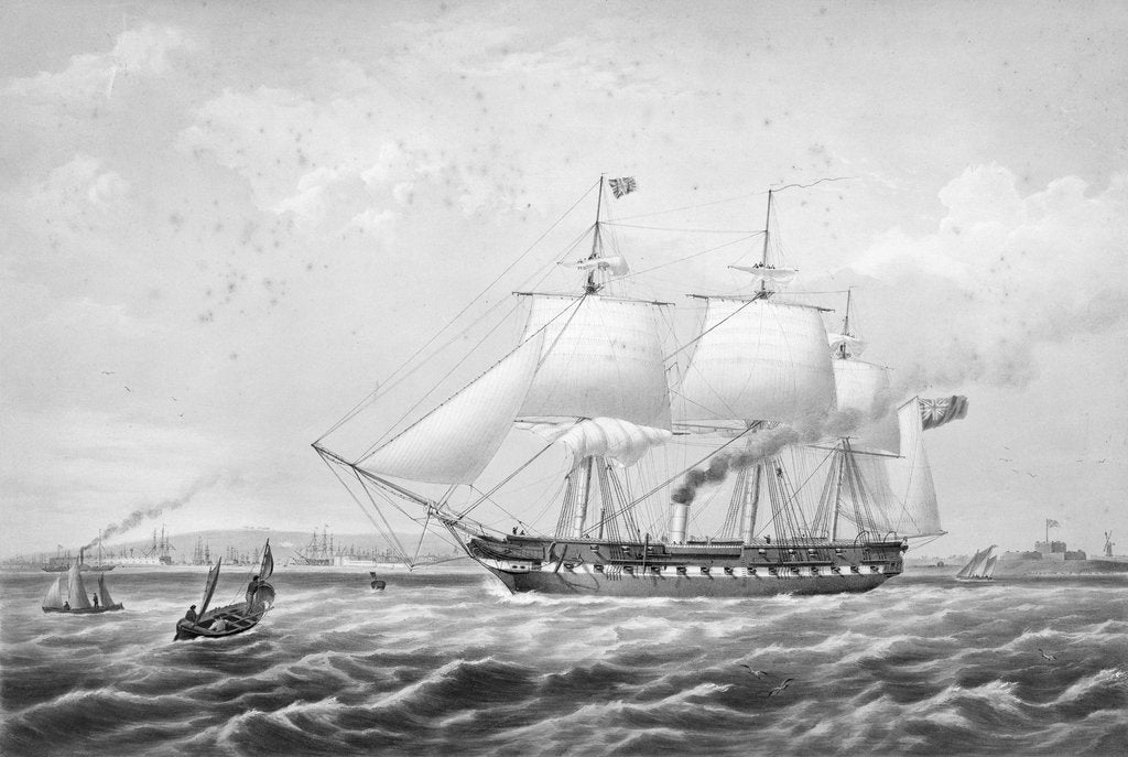 Detail of Auxiliary screw-propeller steam frigate HMS 'Arrogant' (1848), 46 guns by Thomas Picken