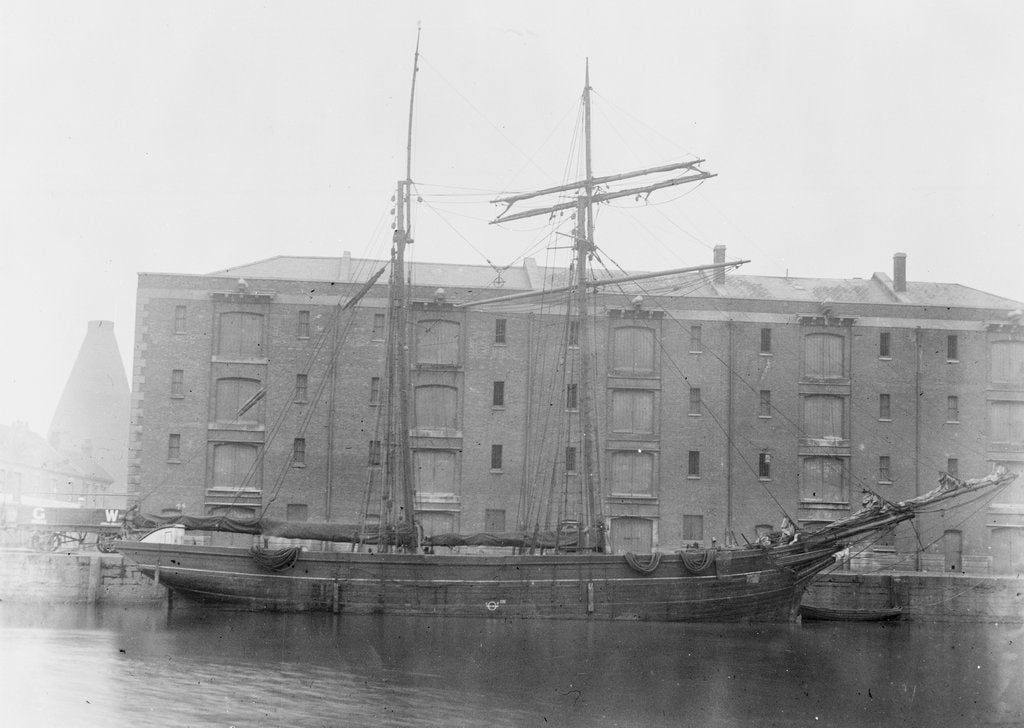 Detail of The 'Katherine Ellen'  moored up by unknown