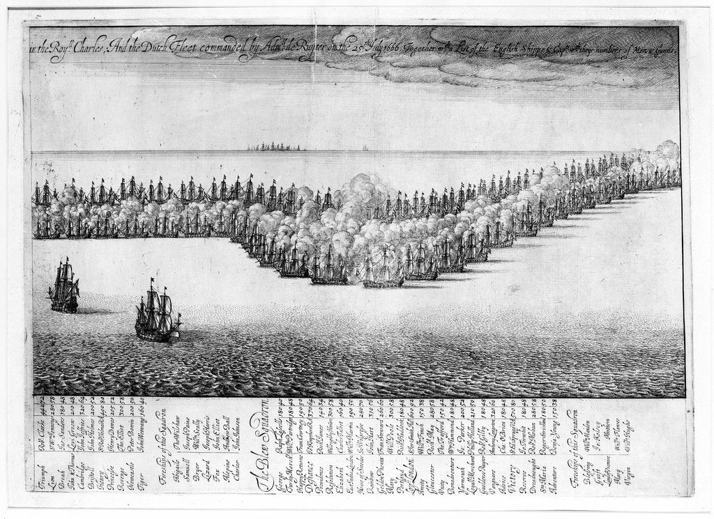 Detail of Battle between the English and Dutch fleets, 25 July 1666 by Wenceslaus Hollar