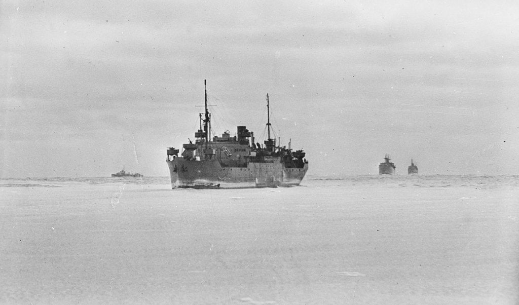 Detail of Merchant ships steaming through thin sea ice by unknown