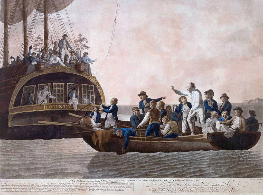 Detail of The Mutineers turning Lt William Bligh and part of the officers and crew adrift from HMS 'Bounty', 29 April 1789 by Robert Dodd