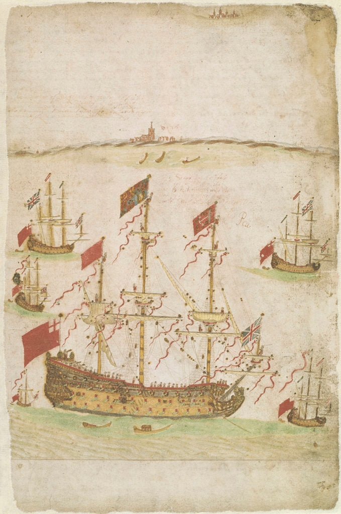 Detail of The 80-gun ship 'Royal Charles' (formerly 'Naseby' (launched 1655) until renaming in 1660) by Edward Barlow