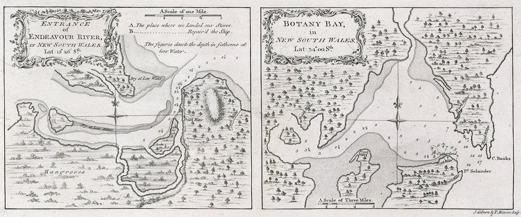 Detail of Captain James Cook's charts of Botany Bay and Endeavour River by unknown