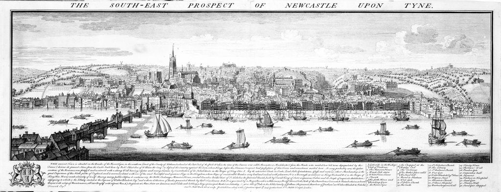 Detail of The south-east prospect of Newcastle upon Tyne by Samuel Buck