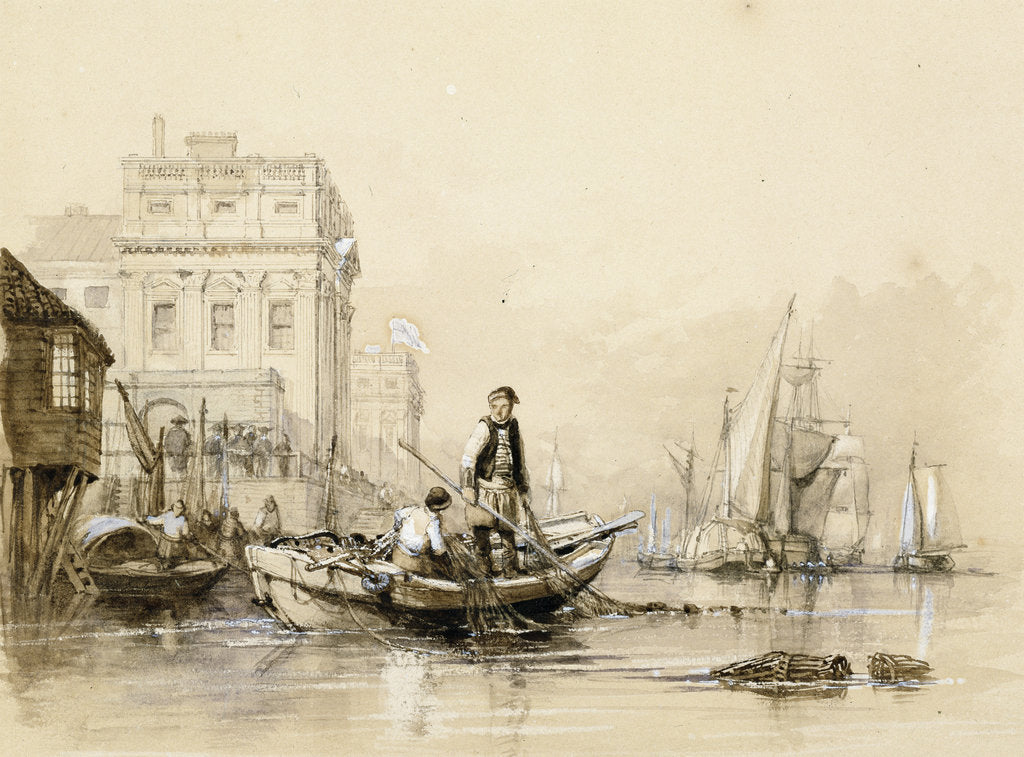 Detail of 'Jack helping Freeman the fisherman' [off Greenwich Hospital]. Original illustration for Marryat's 'Poor Jack' (1840) by Clarkson Stanfield