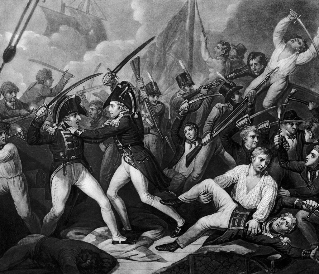 Detail of The Battle of Trafalgar, 1805: Captain Harvey of the 'Temeraire' clearing the deck of French and Spaniards by Gillbank