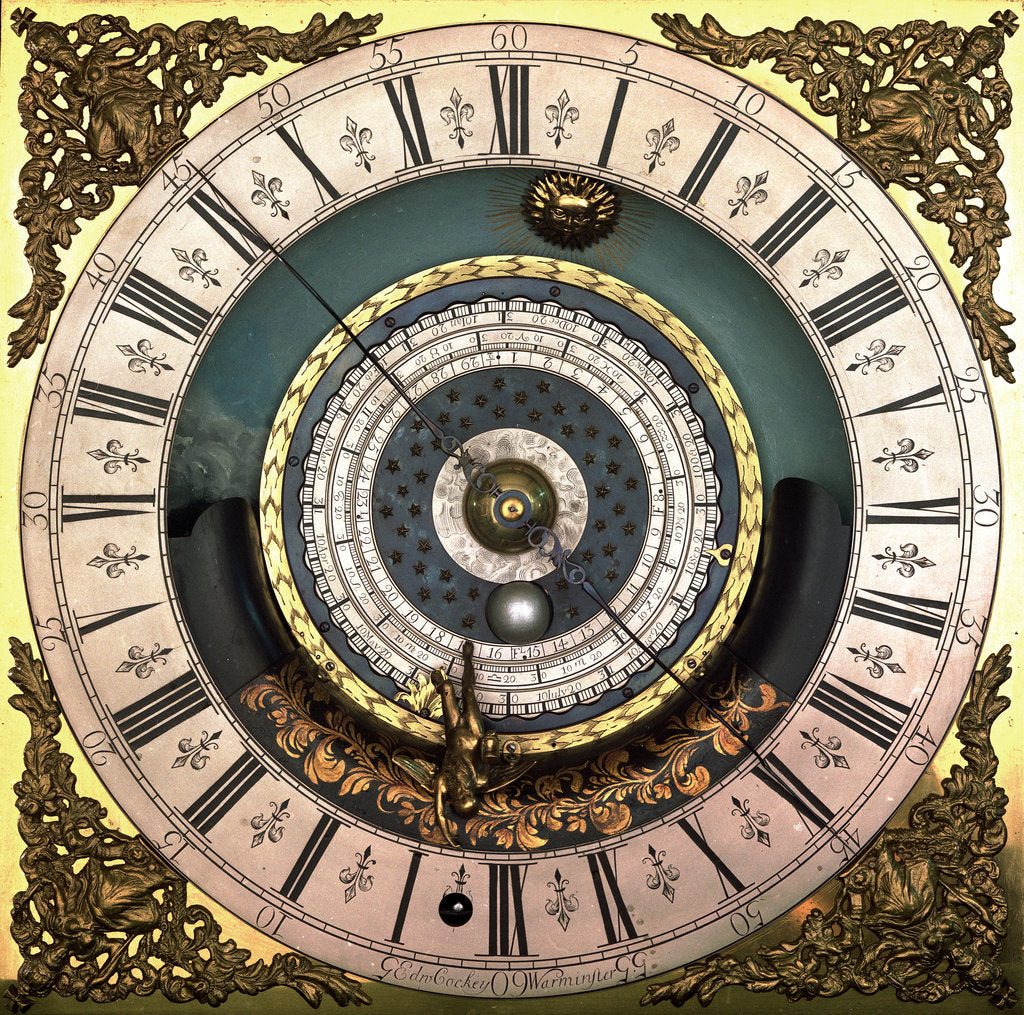 Detail of Astronomical longcase clock (detail) by Edward Cockey