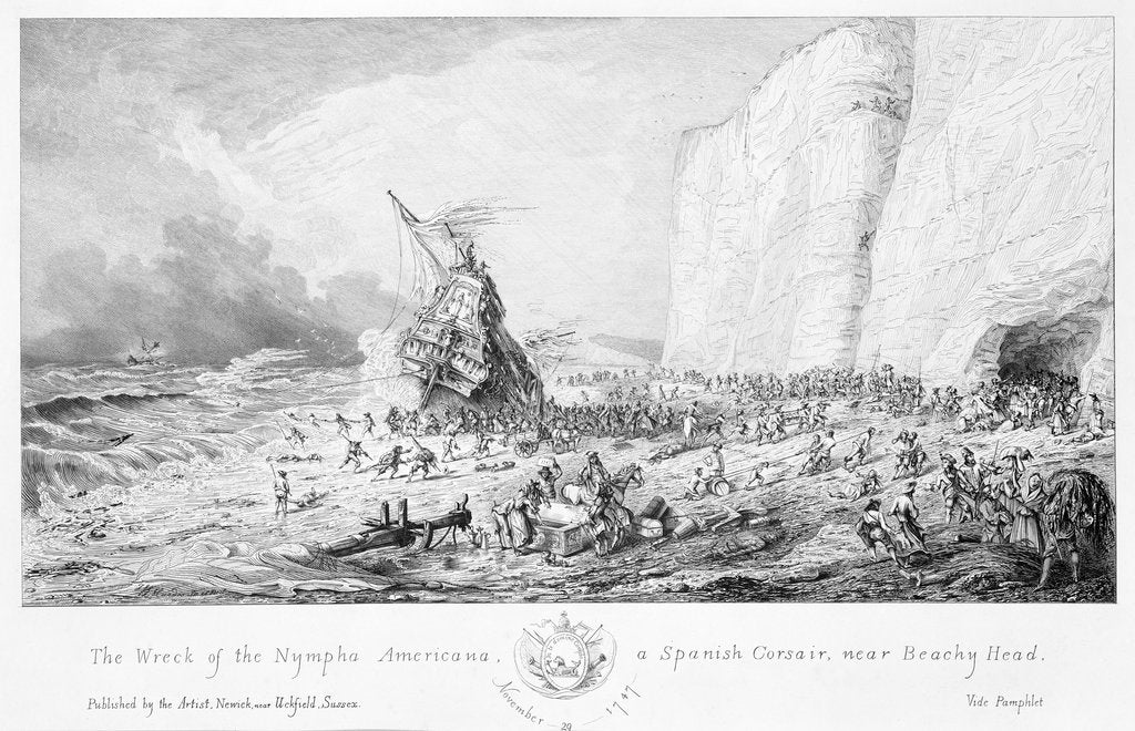 Detail of The wreck of the 'Nympha Americana', a Spanish corsair, near Beachy Head, 29 November 1747 by Newick