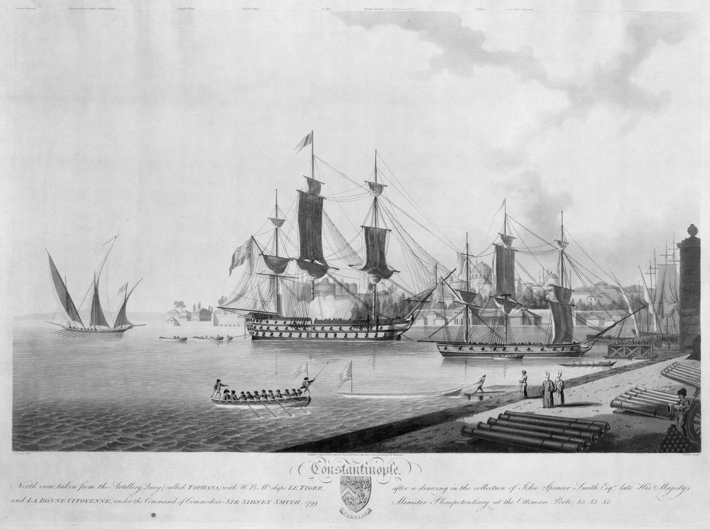 Detail of North view of 'Constantinople', taken from the Artillery Quay (called Tophana) with HBM's ships 'Le Tigre' and 'La Bonne Citoyenne' under the command of Sir Sidney Smith, 1799 by John Thomas Serres