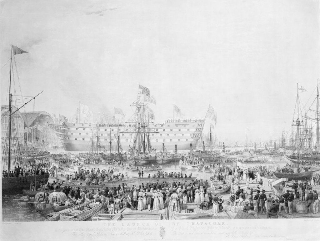 Detail of The Launch of the Trafalgar, in the presence of Her Most Gracious Majesty Queen Victoria and His Royal Highness Prince Albert, at H.M.Dock Yard, Woolwich... by William Ranwell