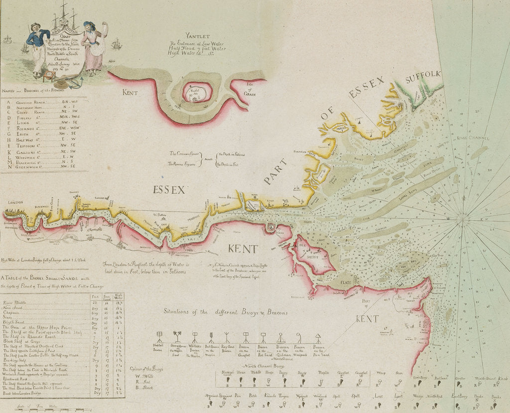 Detail of Chart of the River Thames and Estuary, 1790 by Richard Stanier