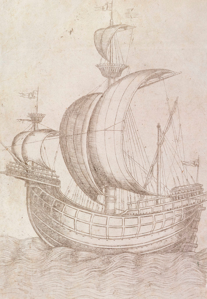 Detail of A ship under sail by unknown