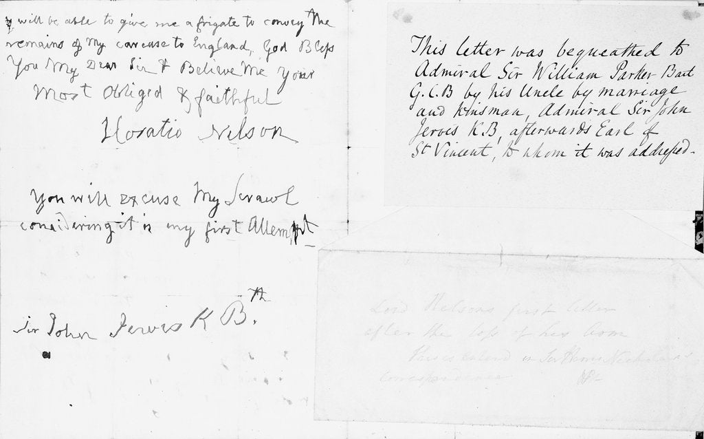 Detail of Nelson's first letter with his left hand by Horatio Nelson