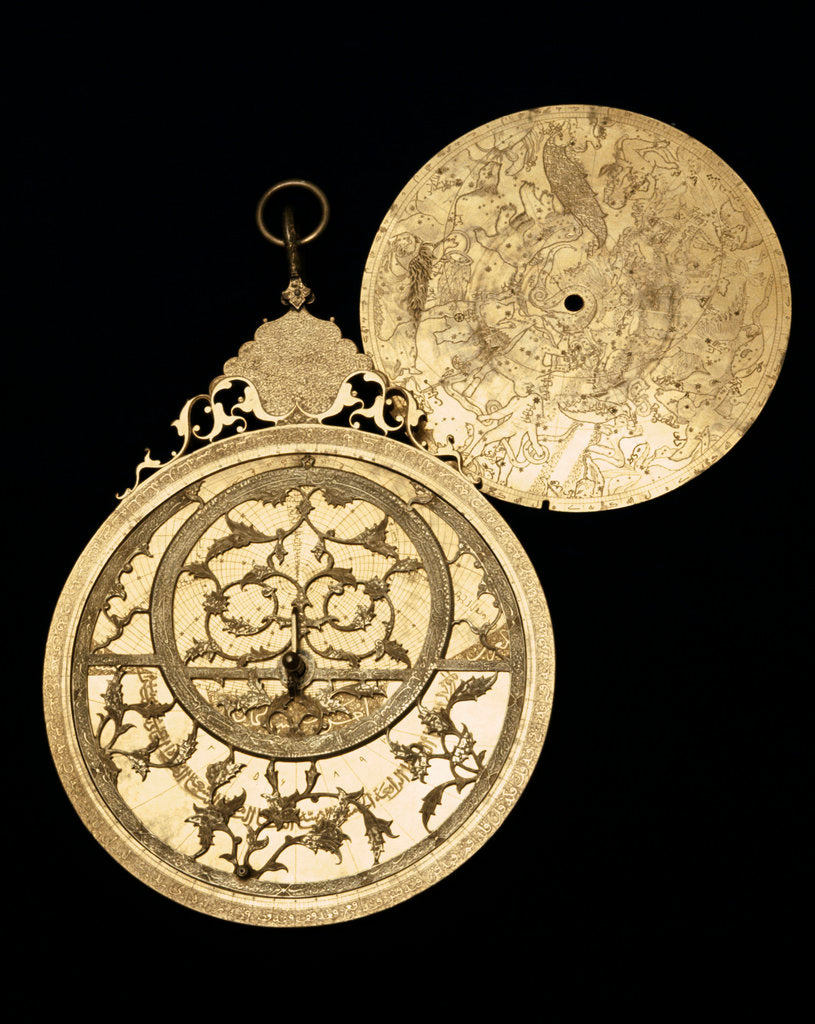 Detail of Astrolabe: obverse and plate by Muhammad Mahdi al-Yazdi