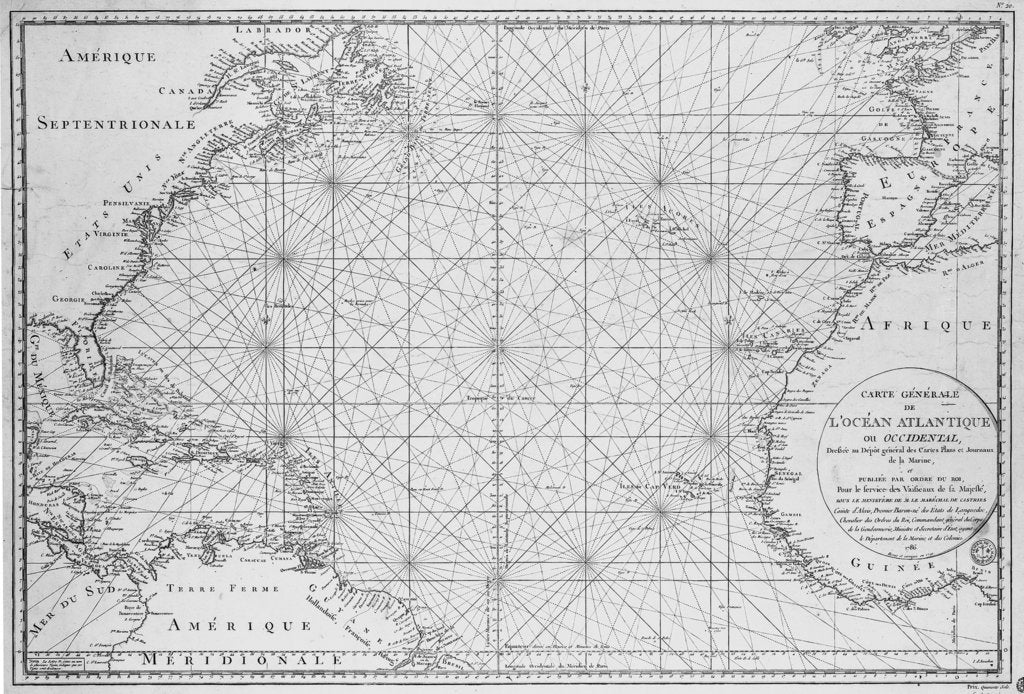 Detail of Printed chart of the North Atlantic Ocean by French Admiralty by Depot De La Marine