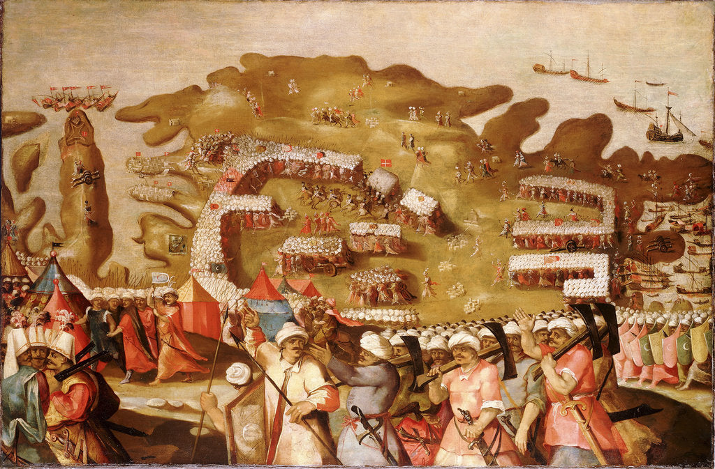 Detail of The Siege of Malta: Arrival of the Turkish Fleet, 20 May 1565 by Matteo Perez d'Aleccio
