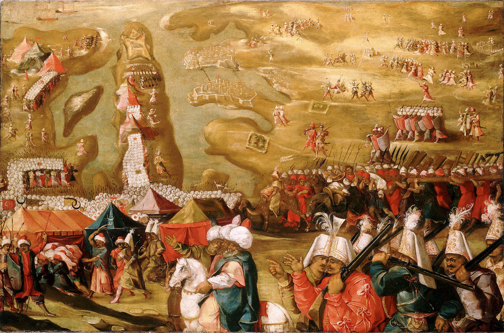 Detail of The Siege of Malta: Siege and bombardment of Saint Elmo, 27 May 1565 by Matteo Perez d'Aleccio