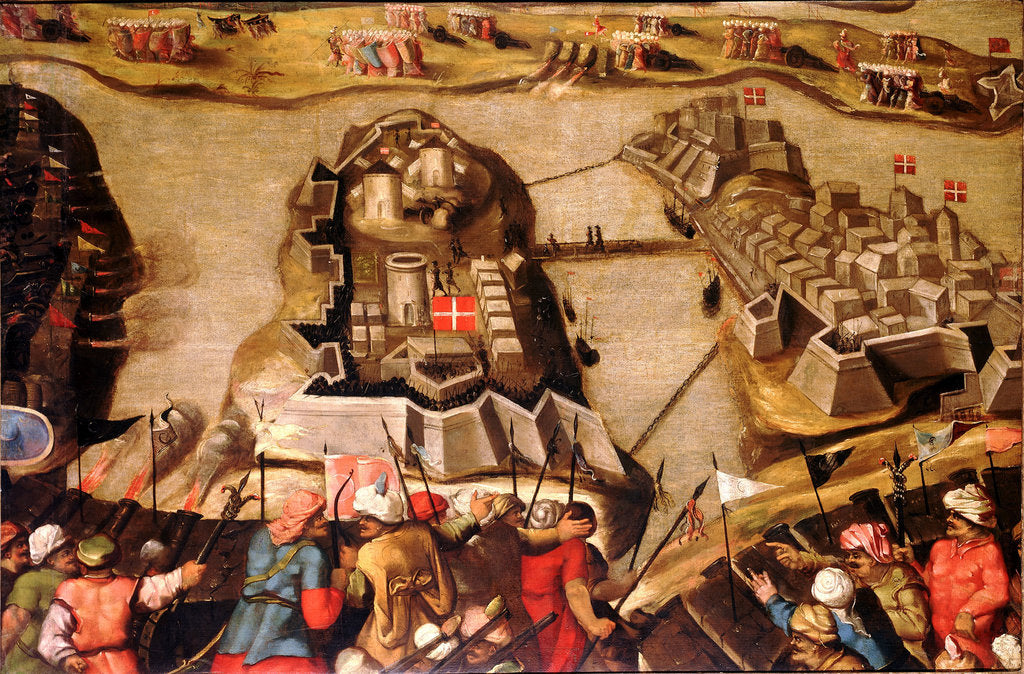 Detail of The Siege of Malta: Siege and bombardment of St Michael, 28 June 1565 by Matteo Perez d'Aleccio