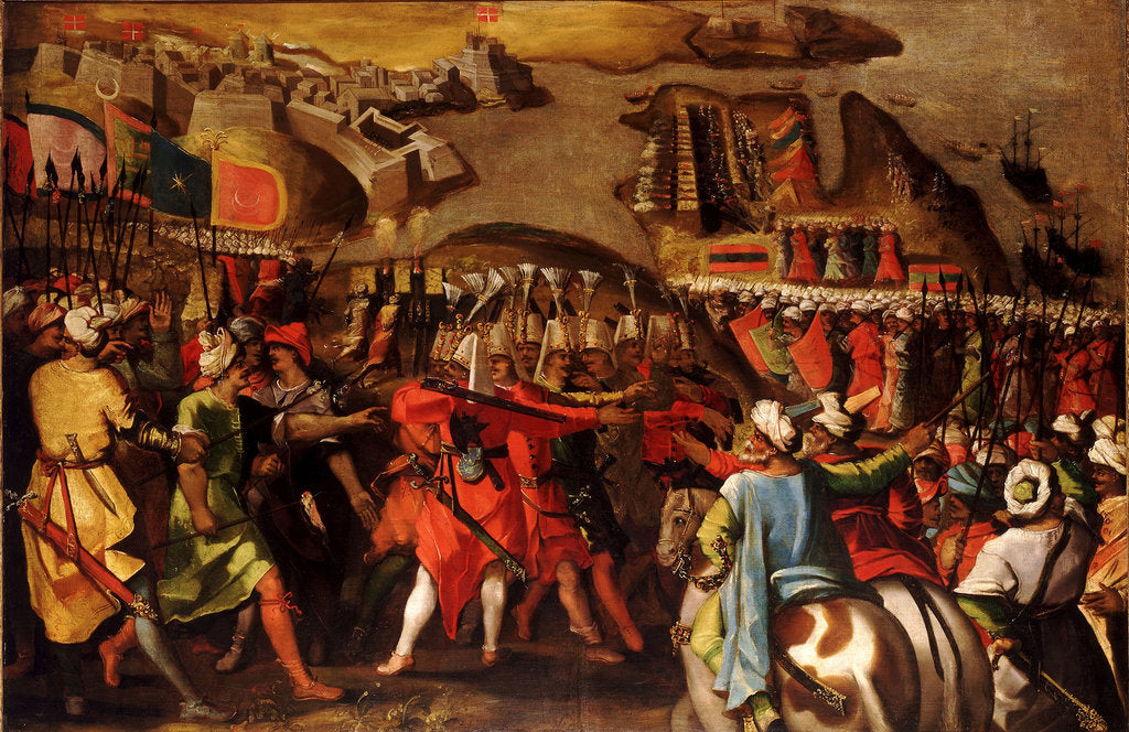 Detail of The Siege of Malta:Turkish bombardment of Birgu, 6 July 1565 by Matteo Perez d'Aleccio