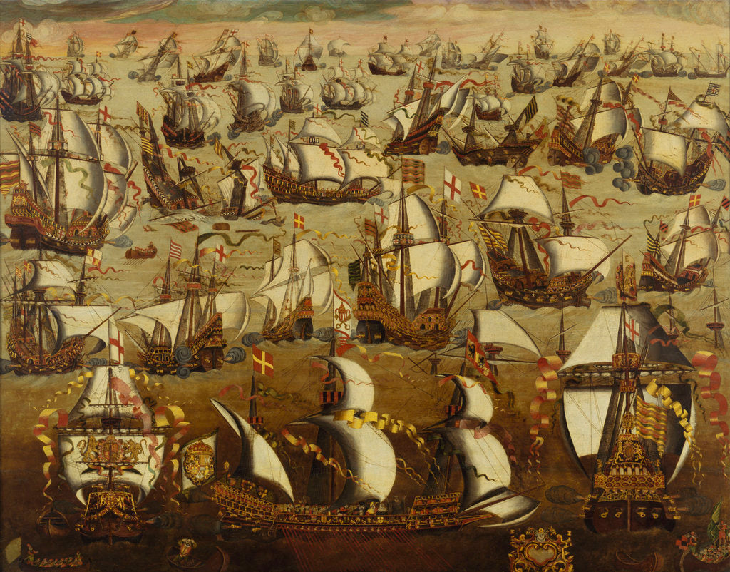 Detail of English ships and the Spanish Armada, August 1588 by English School