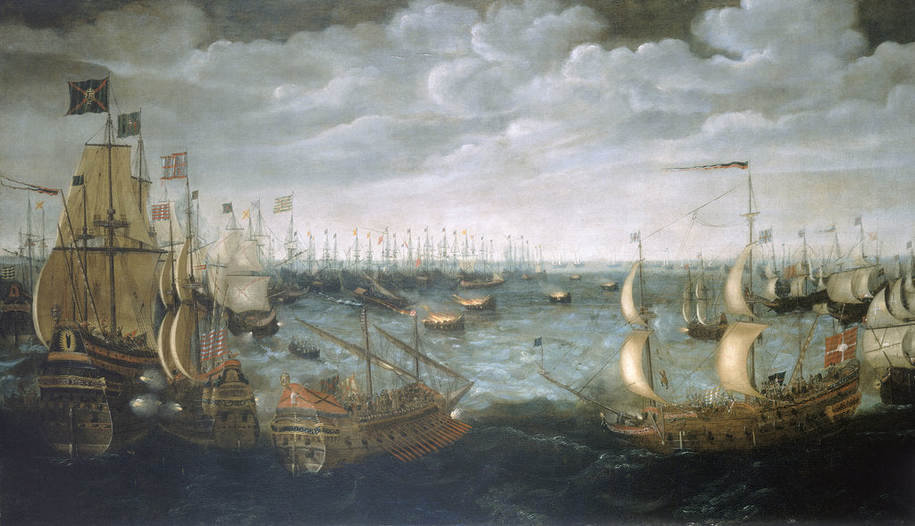 Detail of Launch of fireships against the Spanish Armada, 7 August 1588 by Aert Anthonisz