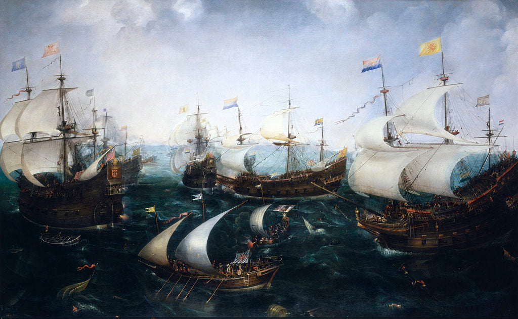 Detail of Heemskerk's defeat of the Spaniards at Gibraltar, 25 April 1607 by Cornelis Claesz van Wieringen