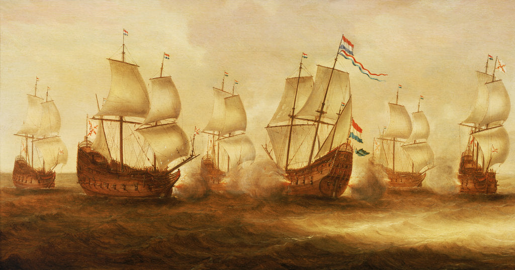 Witte de With's action with Dunkirkers off Nieuport, 1641 by Jacob Gerritsz Loeff