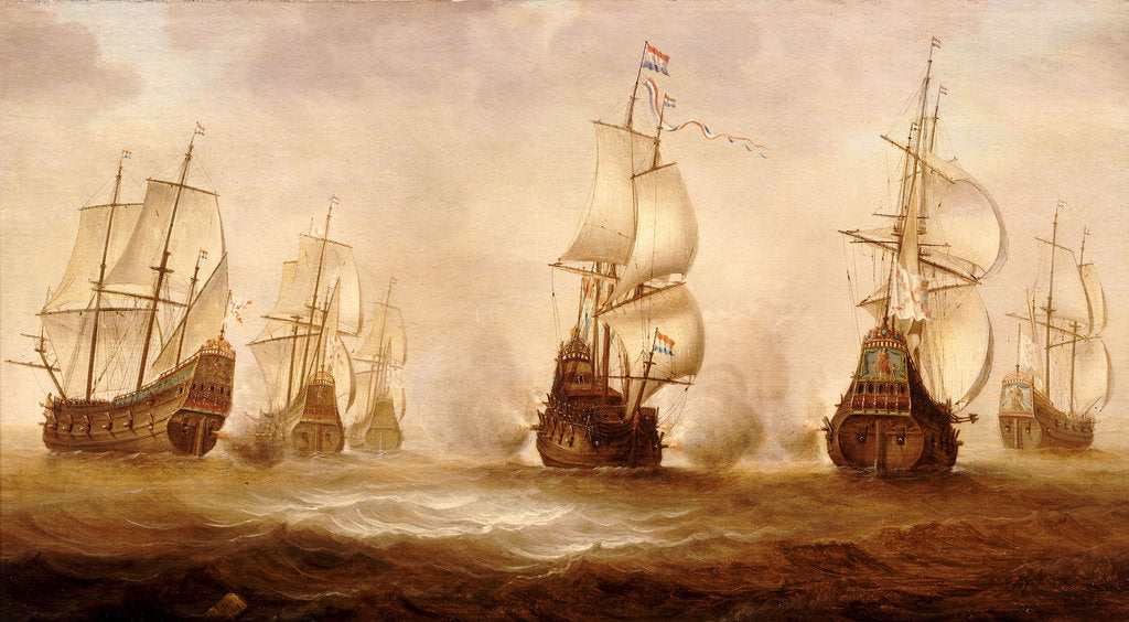 Detail of Witte de With's action with Dunkirkers off Nieuport, 1641 by Jacob Gerritsz Loeff