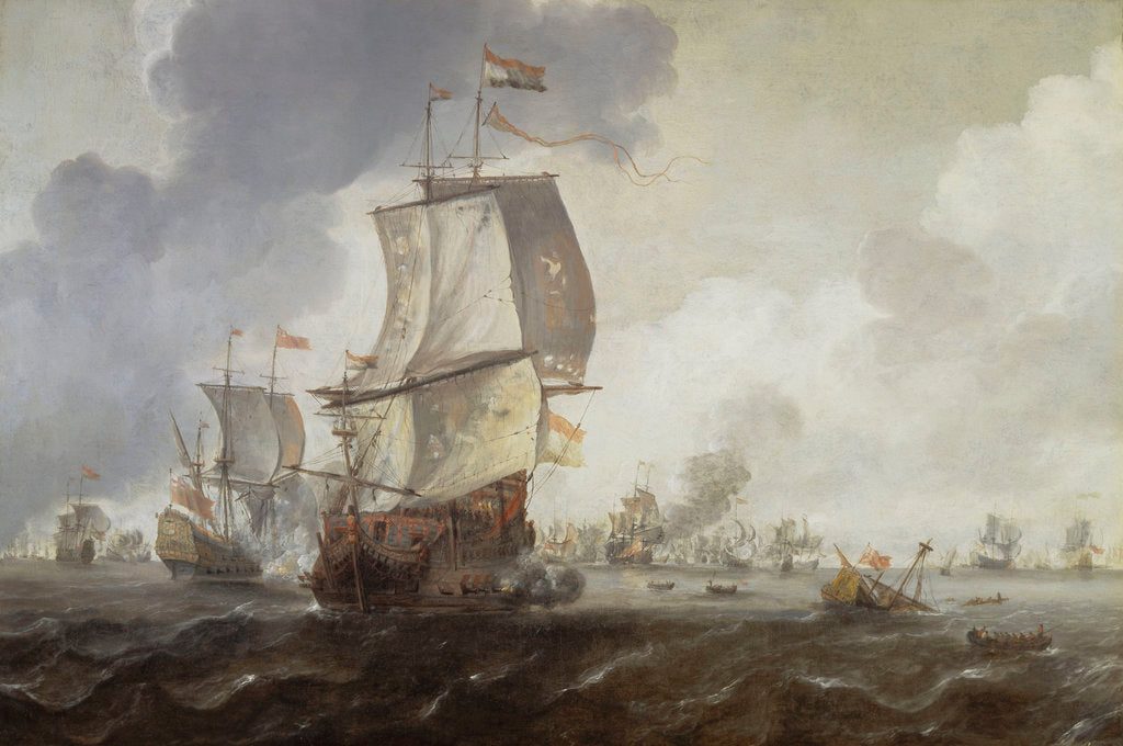 Detail of A battle of the First Dutch War, 1652-54 by Reinier Nooms