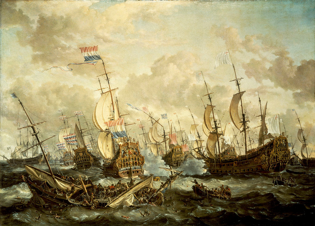 Detail of HMS 'Royal Prince' and other vessels at the Four Days Battle, 1-4 June 1666 by Abraham Storck