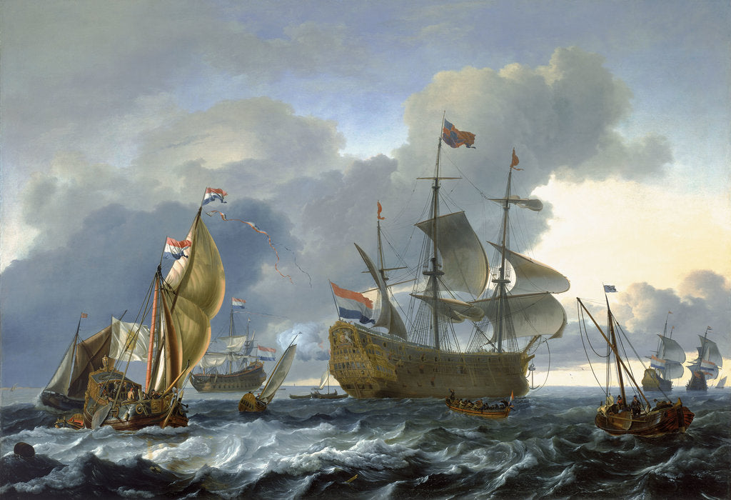 Detail of The Dutch attack on the Medway: 'Royal Charles' carried into Dutch waters by Ludolf Bakhuizen