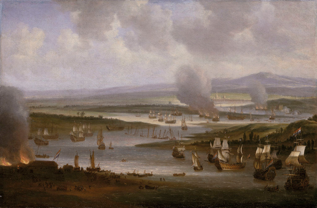 Dutch ships in the Medway, June 1667 by Willem Schellinks