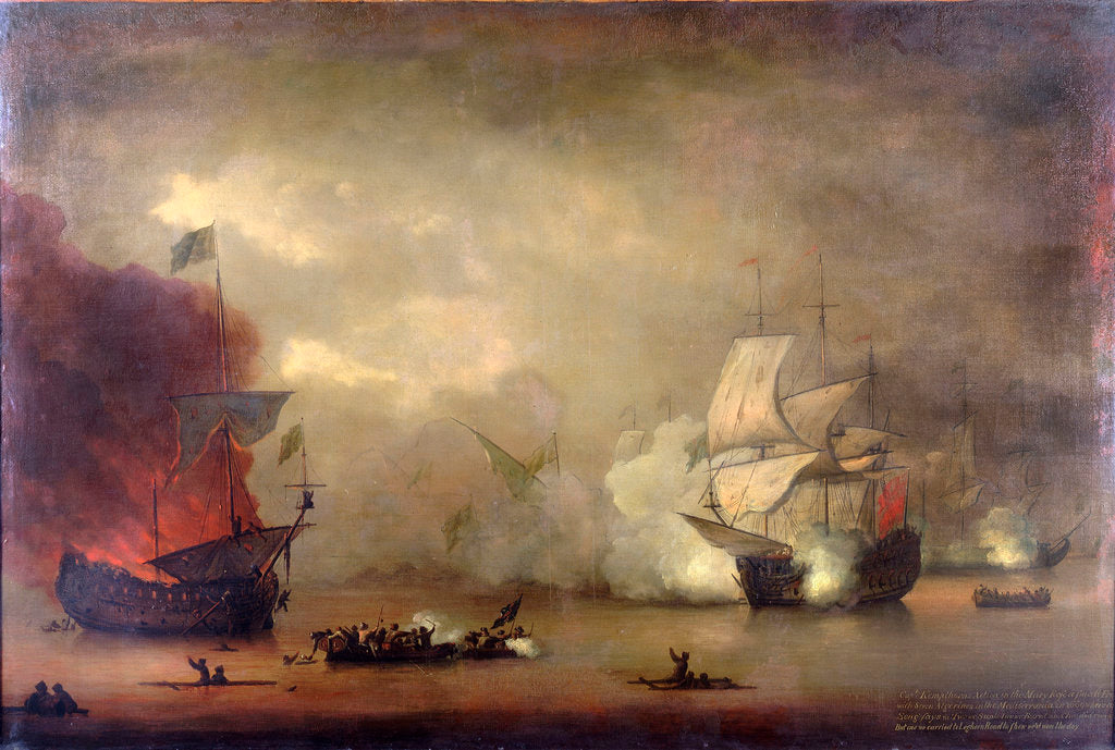 Detail of Action between HMS 'Mary Rose' and seven Algerines, 8 December, 1669 by Peter Monamy