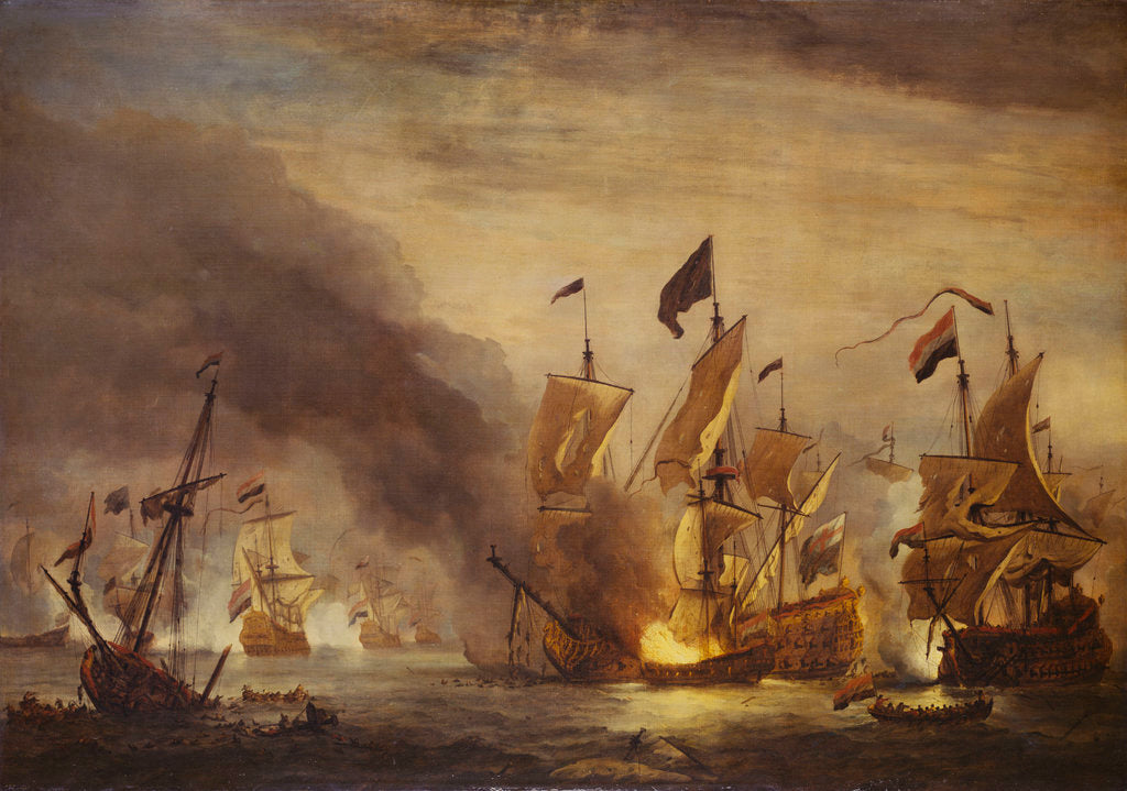 Detail of The burning of HMS 'Royal James' at the Battle of Solebay, 28 May 1672 by Willem Van de Velde the Younger