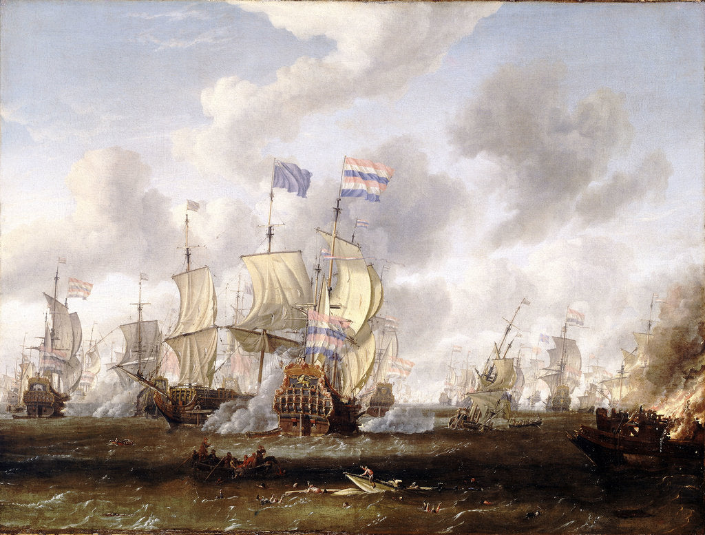 Detail of The 'Golden Leeuw' engaging 'The Royal Prince' at the Battle of the Texel, 11 August 1673' by Abraham Storck