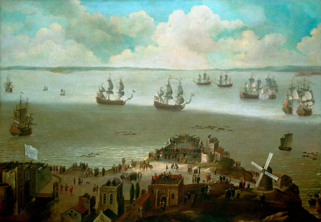 Detail of HMS 'Tiger' taking the 'Schakerloo' in the harbour of Cadiz, 23 February 1674 by Daniel Schellinks