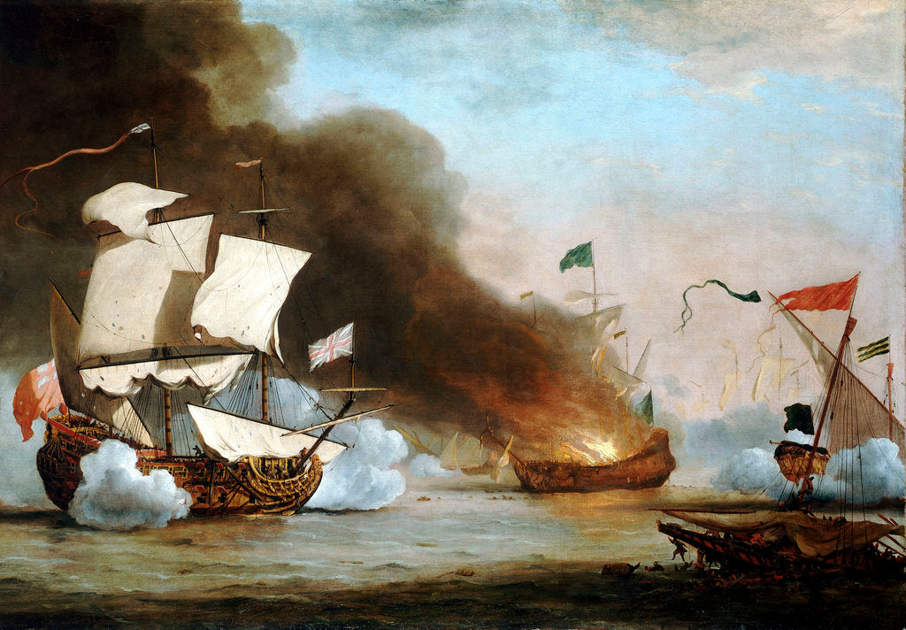 Detail of An English ship in action with Barbary Corsairs, circa 1680 by Willem Van de Velde the Younger