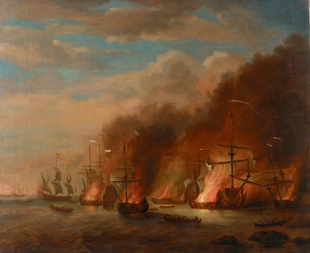 Detail of The burning of the 'Soleil Royal' at the Battle of La Hogue, 23 May 1692 by Willem van de Velde the Elder