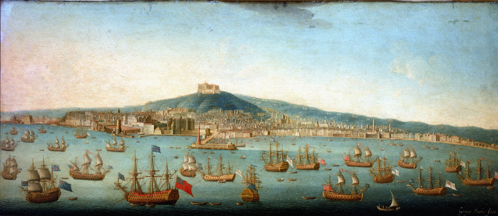 Detail of View of the bay of Naples with Admiral Byng's fleet at Anchor, 1 August 1718 by Gaspar Butler