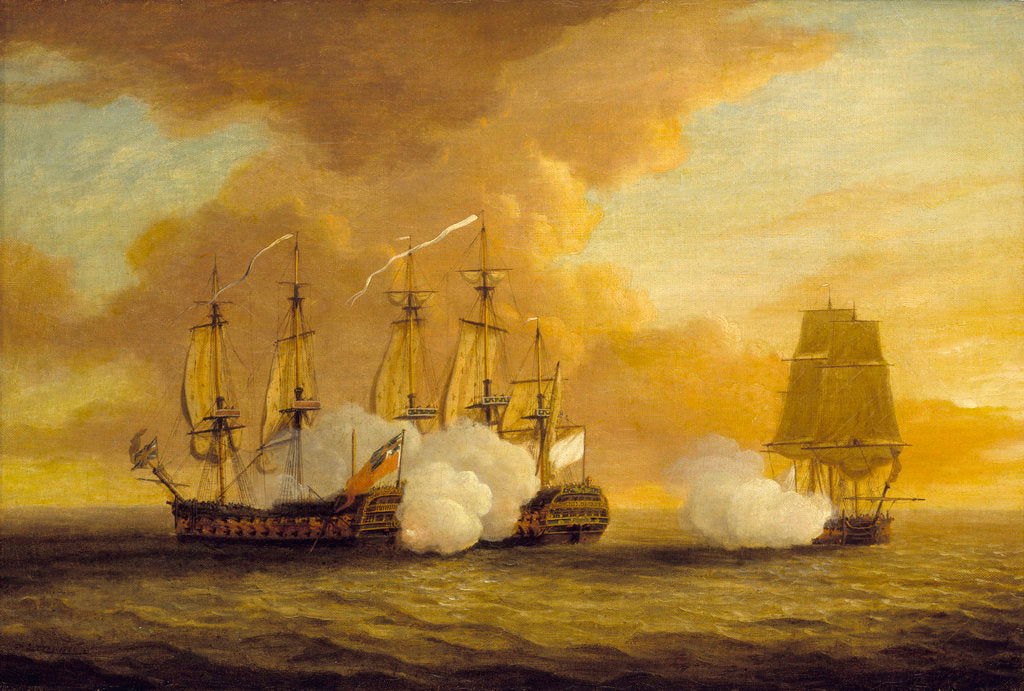 Detail of Action between HMS 'Lion' and 'Elizabeth' and the 'Du Teillay', 9 July 1745 by Dominic Serres the Elder