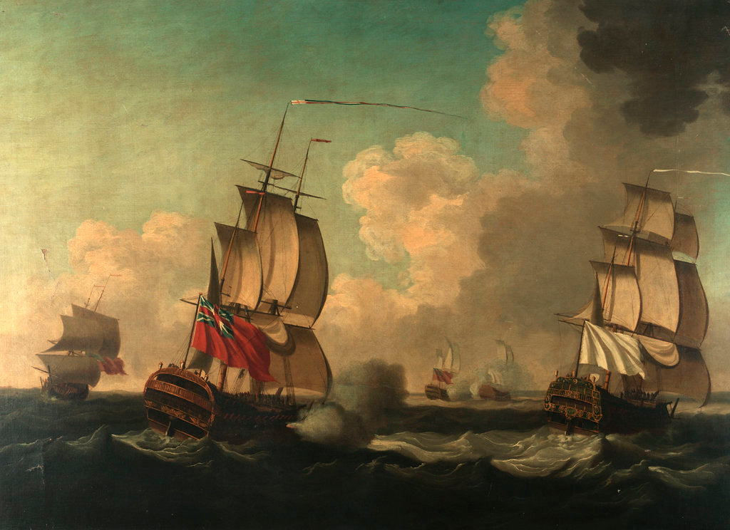 Detail of The capture of the 'Alcide' and 'Lys', 8 June 1755 by British School