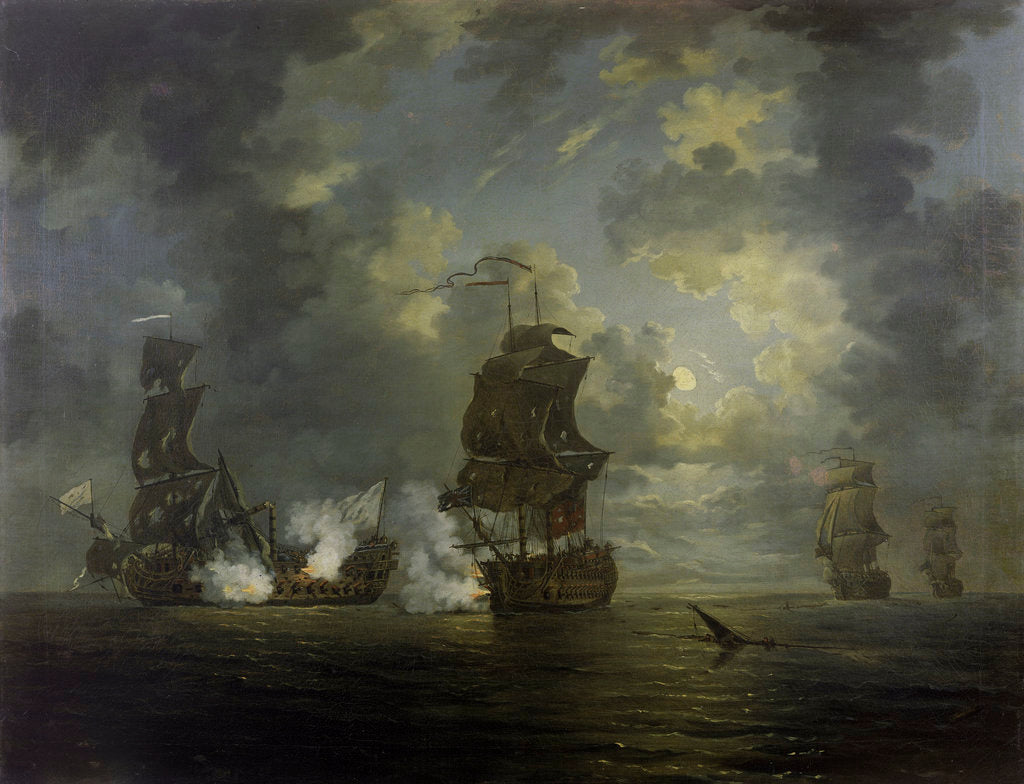 Detail of The capture of the Foudroyant by HMS Monmouth, 28 February 1758 by Francis Swaine