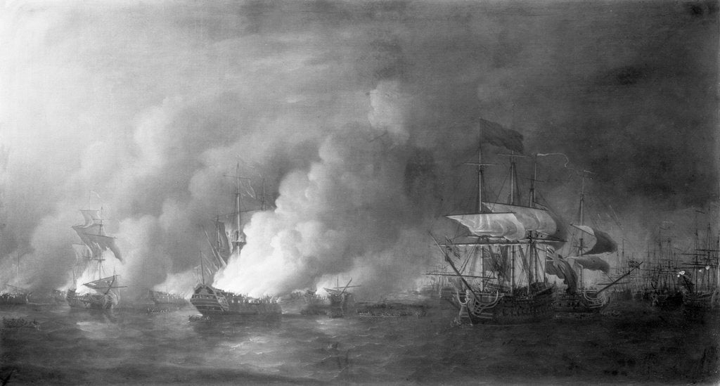 French fireships attacking the English fleet off Quebec, 28 June 1759 by Samuel Scott