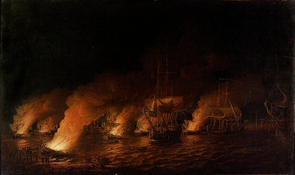 Detail of French fireships attacking the English fleet off Quebec, 28 June 1759 by Dominic Serres the Elder
