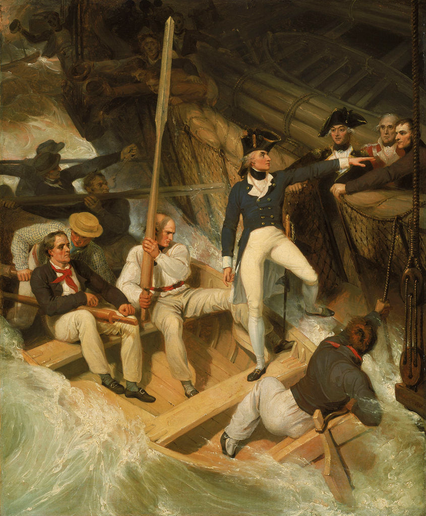 Detail of Nelson boarding a captured ship, 20 November 1777 by Richard Westall
