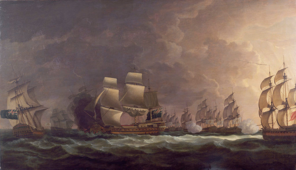 Detail of The Moonlight Battle: the Battle off Cape St Vincent, 16 January 1780 by Dominic Serres the Elder